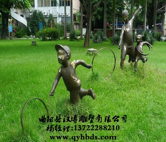 玻璃钢小品雕塑,滚铁环雕塑-ds922